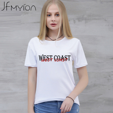 WEST COAST Letters Printed T Shirt Women Tops Short Sleeve Casual Tshirts Loose Summer Crewneck White camiseta femme Tee Shirt