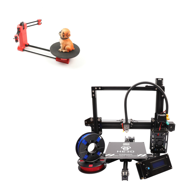 combination sale NEWest HE3D EI3 single autolevel 3D printer diy kit adding open sourse 3D scanner
