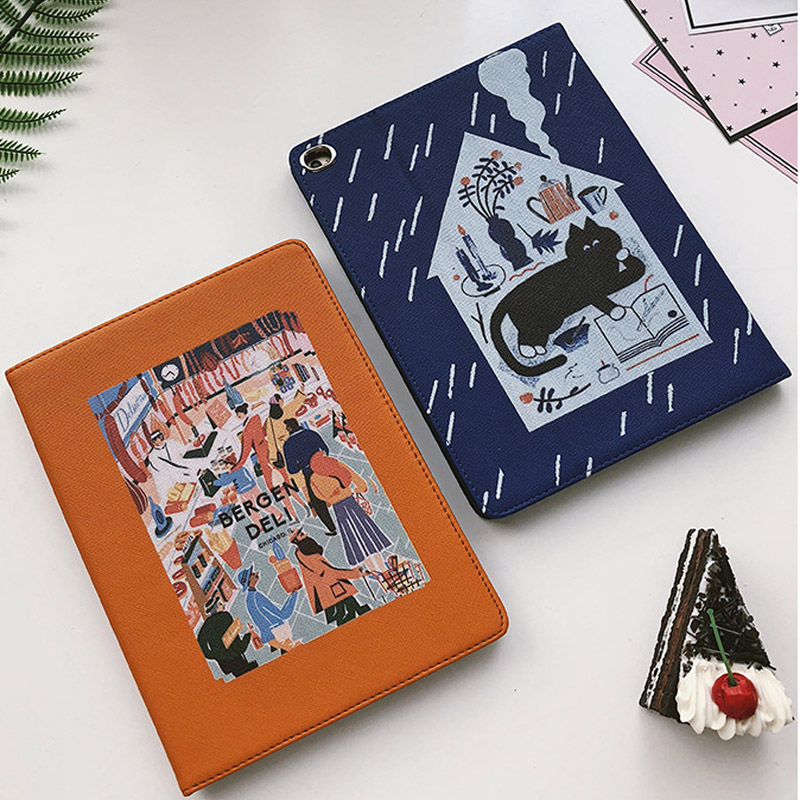 For iPad Air 3 10.5 Inch 2019 hard back Flip smart stand cover pu leather illustration Cute Cartoon case For iPad Pro 10.5 2017 (5)
