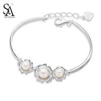 SA SILVERAGE 925 Sterling Silver Freshwater Cultured Pearl Bracelets Bangles