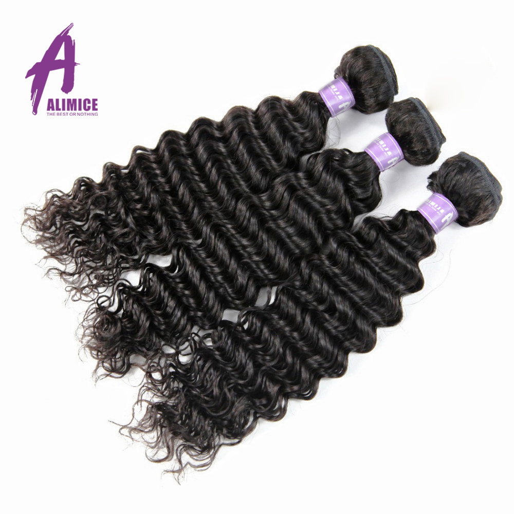 Indian Deep Wave Hair 3 Bundles Hair Weft Extensions 100% Human Hair Weave Bundles Natural Color Aimice Non Remy Hair Weaving