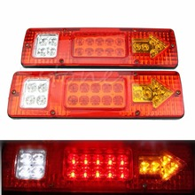 Car Styling 2pcs 19 LED Truck Trailer Rear Tail Stop Turn Light Indicator Lamp 12V