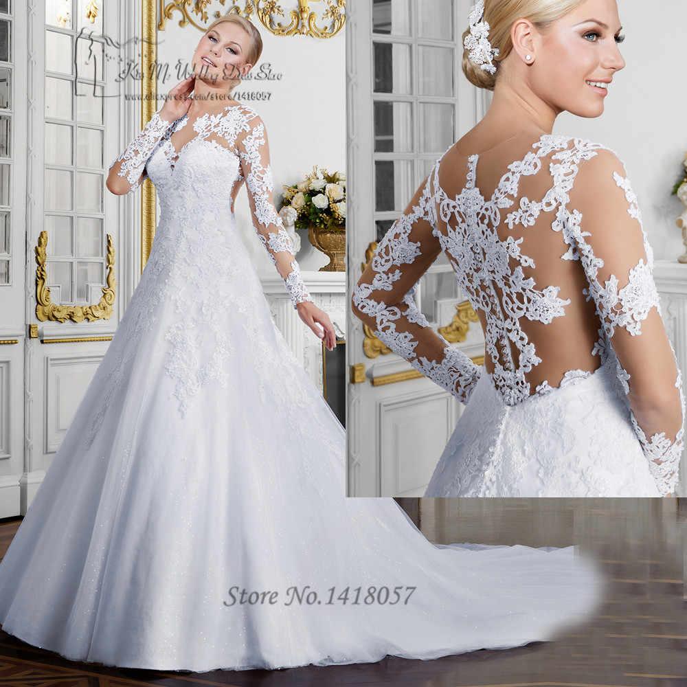 8632ba0e4f Vestido de Renda Noiva Sexy 2017 Civil Wedding Dresses Long Sleeve See  Through Wedding Gowns Lace