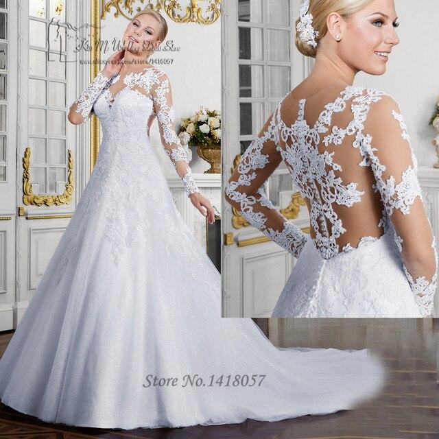 0d86f5ffd2 Vestido de Renda Noiva Sexy 2017 ślub cywilny sukienki z długim rękawem  przepuszczalność suknie ślubne koronkowa