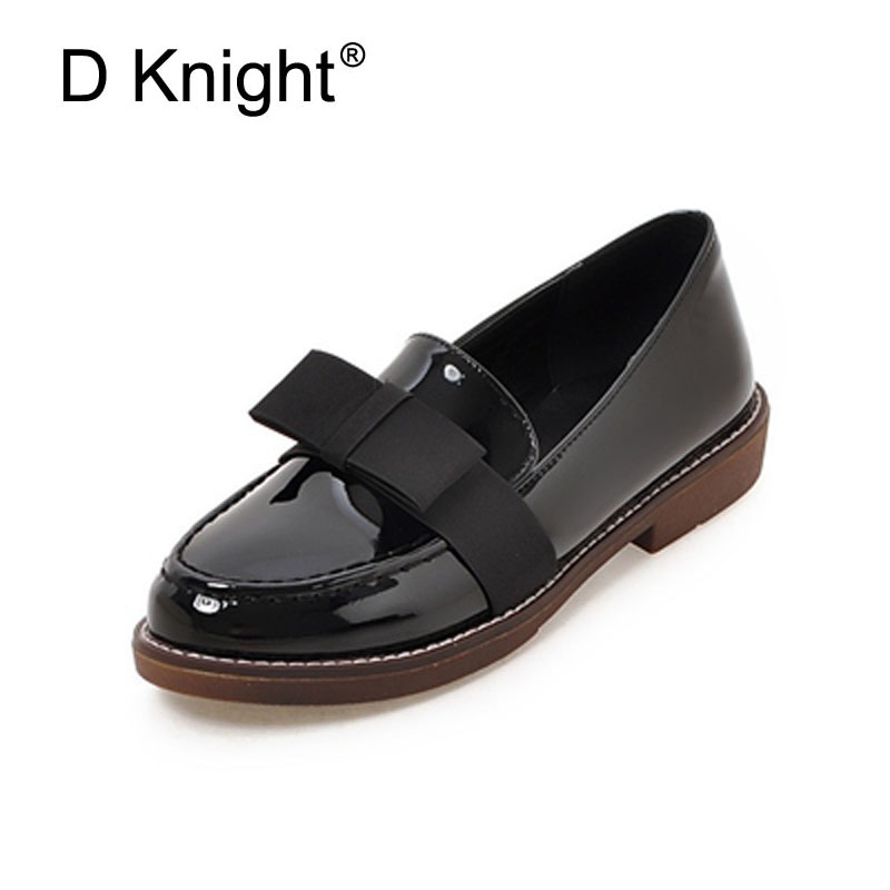 Vintage Women Oxford Flats Bowtie Student Shoes Round Toe Oxfords For Women Patent Leather Loafers Plus Size 32-43 Silp On Flats plus size 34 41 black khaki lace bow flats shoes for womens ds219 fashion round toe bowtie sweet spring summer fall flats shoes