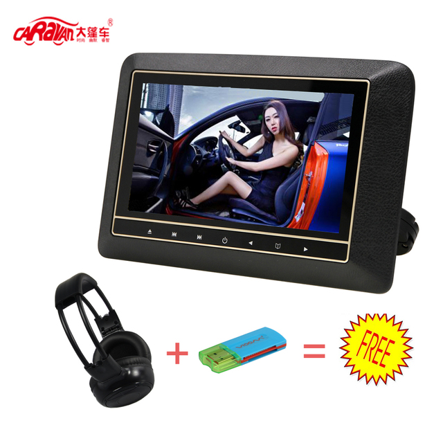 CARAVAN  Full 9 inch HD LCD Screen Portable Car Headrest DVD Monitor Player 800*480 Support USB/HDMI/RCA/IR/FM 3 Colors