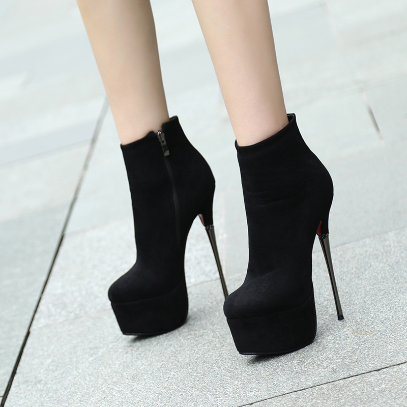 a781b28a2c7 Arden Furtado spring autumn stilettos high heels 15cm platform ankle boots  round toe black suede night club fashion shoes ladies-in Ankle Boots from  Shoes ...
