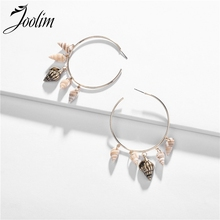 Joolim White Natural Shell Sea Snail Hoop Earring 3 Quaters