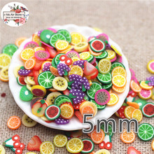 1000pcs 5mm mix color fruit slince polymer clay craft nail Art Supply Decoration Charm Craft