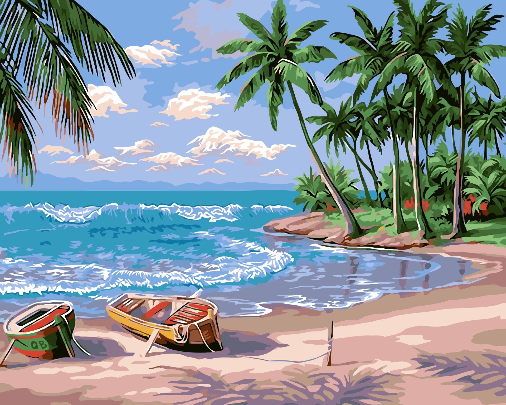 Frameless barca spiaggia paesaggio marino dipinti ad olio for Disegni della casa sulla spiaggia