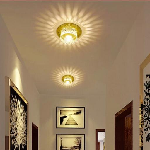 3w modern led ceiling spotlights crystal balcony hallway for Living room light fixtures