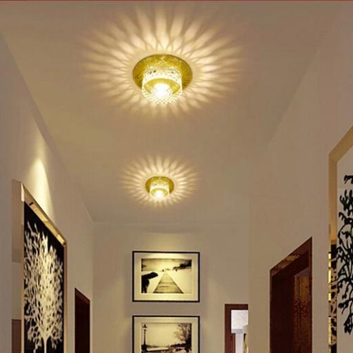 3W Modern LED Ceiling Spotlights Crystal Balcony Hallway Living Room Light  Abajur Luminaria Light Fixtures AC220
