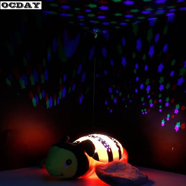 Led Night Light Luminous Plush Baby Stuffed Animal Toys With Music