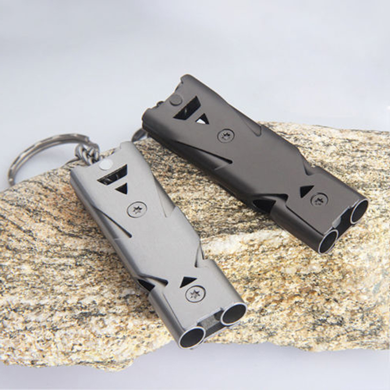 150db Double Pipe High Decibel Stainless Steel Outdoor Emergency Survival Whistle Keychain Camping HIking Keychain Whistle outdoor survival aluminum alloy whistle w keychain black 5 pcs