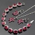 Lan Ovalada 925 Plata de La Joyería Rojo Granate AAA Circón Gota de Agua Para El Collar Pendiente/Pendiente/Pulsera Para boda