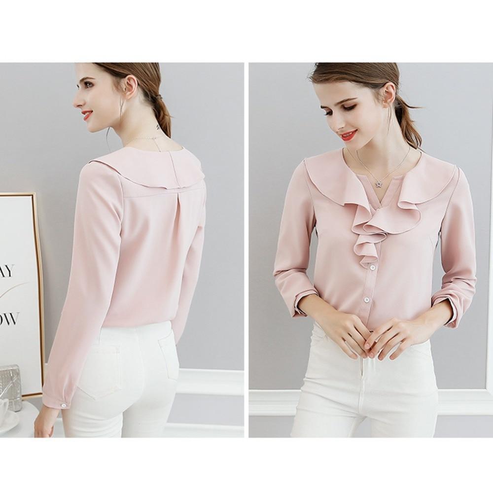ea13e74c8d034 Femenina Elegante Y Delgado Camisas Otoño Color Con Volantes Camisetas pink  Trabajo Las Tops Sólido Mujeres ...