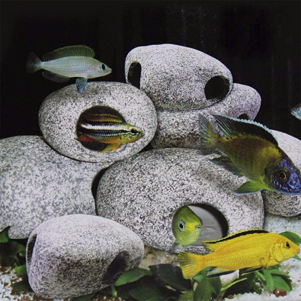 TE 1 шт. цихлид камень аквариума пруд орнамент украшения для разведения креветок Рок Пещера керамика камни Akvaryum
