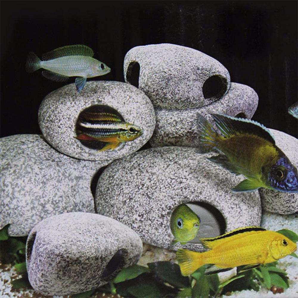 Pecute 1pcs Cichlid Stone Aquarium Fish Tank Pond Ornament Decoration Shrimp Breeding Rock Cave Ceramic Stones Akvaryum
