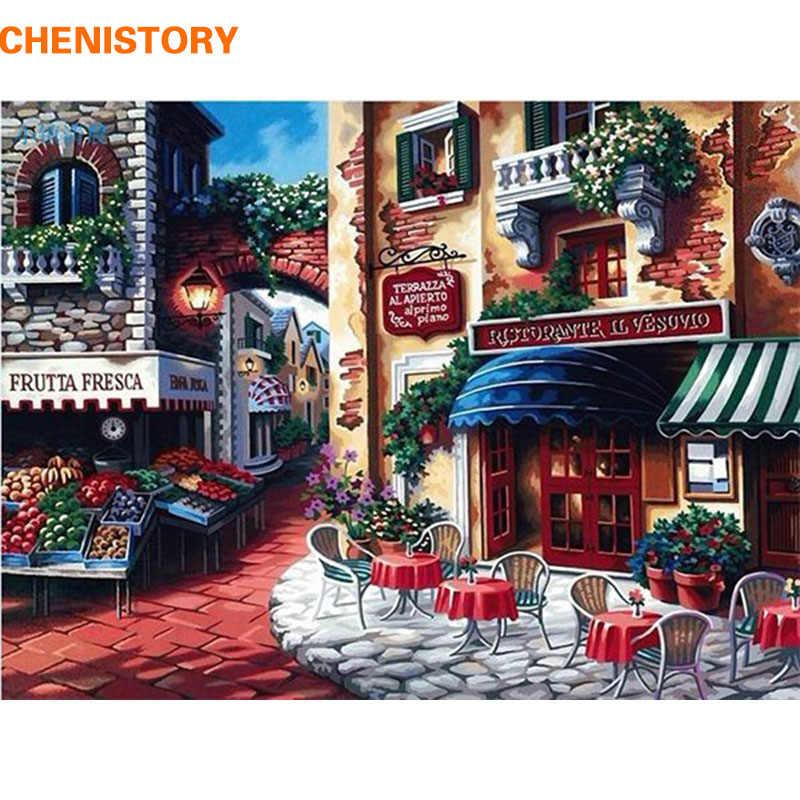 CHENISTORY مقهى بلدة DIY النفط الطلاء بواسطة أرقام لوحات الرسم بالطلاء على قماش المنزل الزينة ل أطقم التلوين Paintng هدية
