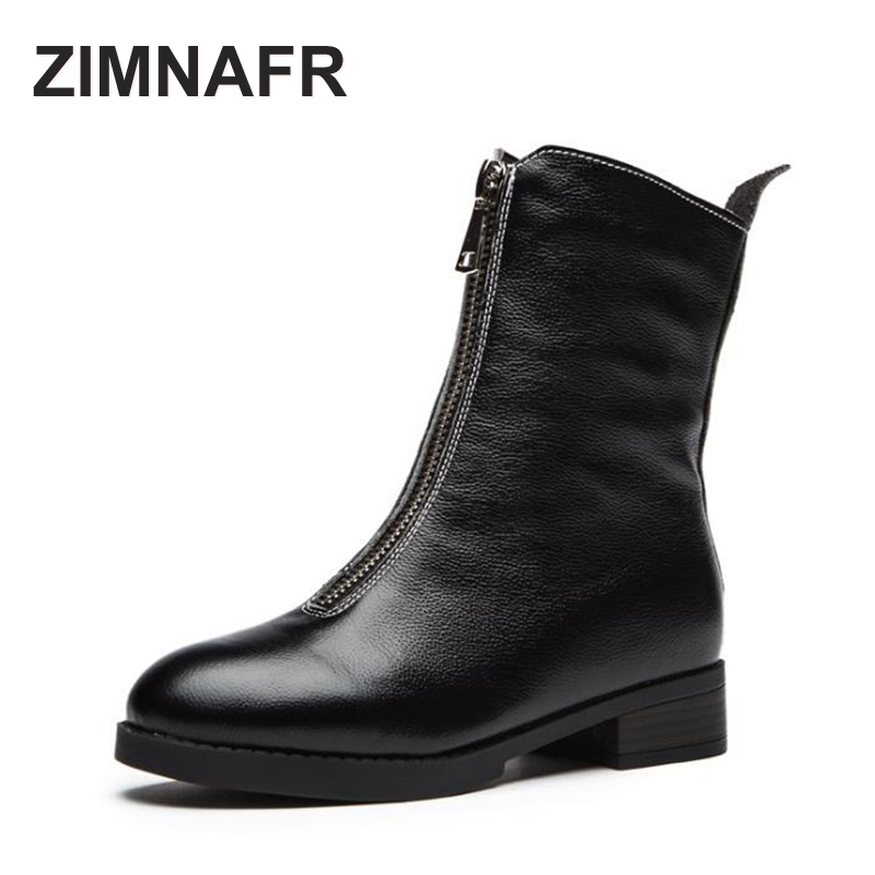 ZIMNAFR BRAND 2017 AUTUMN&WINTER MARTIN BOOTS SNOW BOOTS WINTER BOOTS  ZIPPER GENUINE LEATHER KNEE-HIGH WOMEN BOOTS autumn winter women martin snow boots