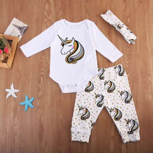 USA Unicorn Newborn Baby Girls Bodysuit Romper Pants 3Pcs Outfits Set Clothes