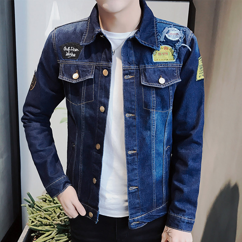 New Fall Fashion Jacket Mens Clothes Denim Jacket Loose Coat Casual Slim Denim Jacket All Match Mens Pure Male Fashion Jeans