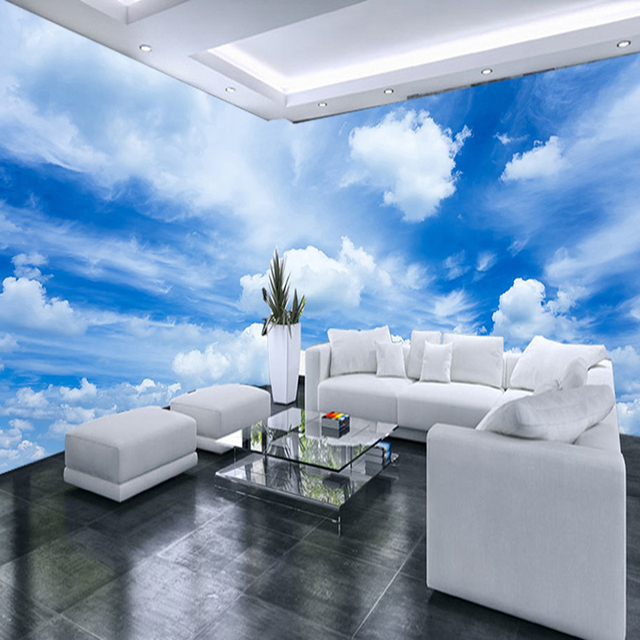 Moderne Simple Bleu Ciel Et Blanc Nuages Photo Papier Peint Salon ...