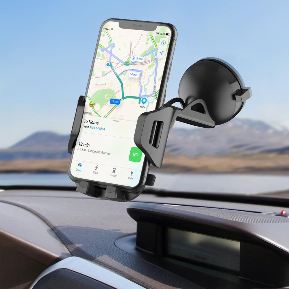 Aerb Car Phone holder Mount Windshield Dashboard Universal Suction Mount Stand 360 Degree Rotatable Car Phone Cradle for phone