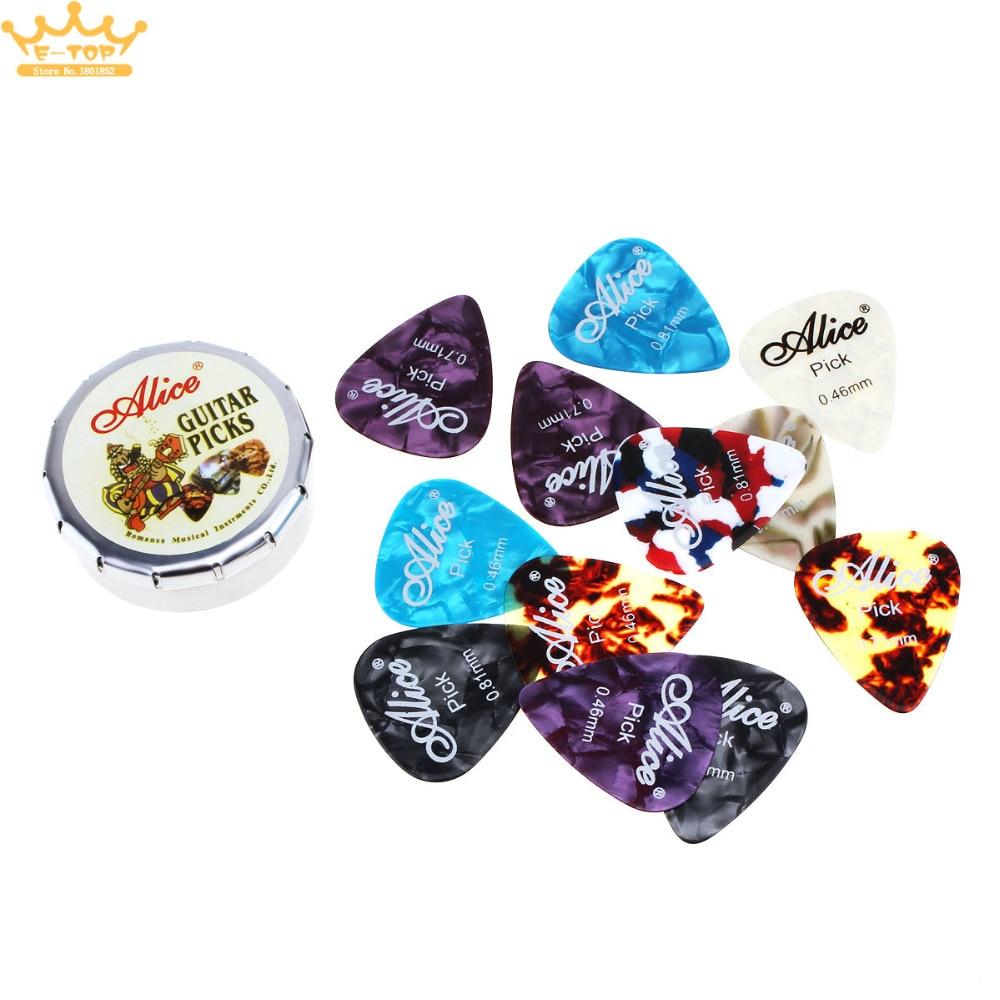 12pcs Acoustic Electric Guitar Picks Plectrums 0.46 / 0.71 / 0.81mm Xylonite Guitar Picks + Metal Box