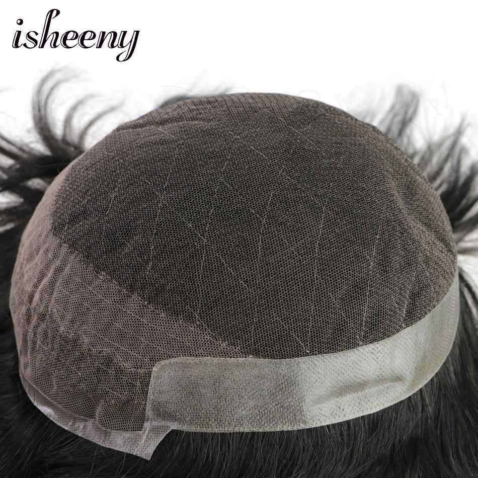 Isheeny мужской парик человеческие волосы парики моно парик натуральный волос кружева тонкий PU заменить мужчин t система Remy Парики волос для мужчин