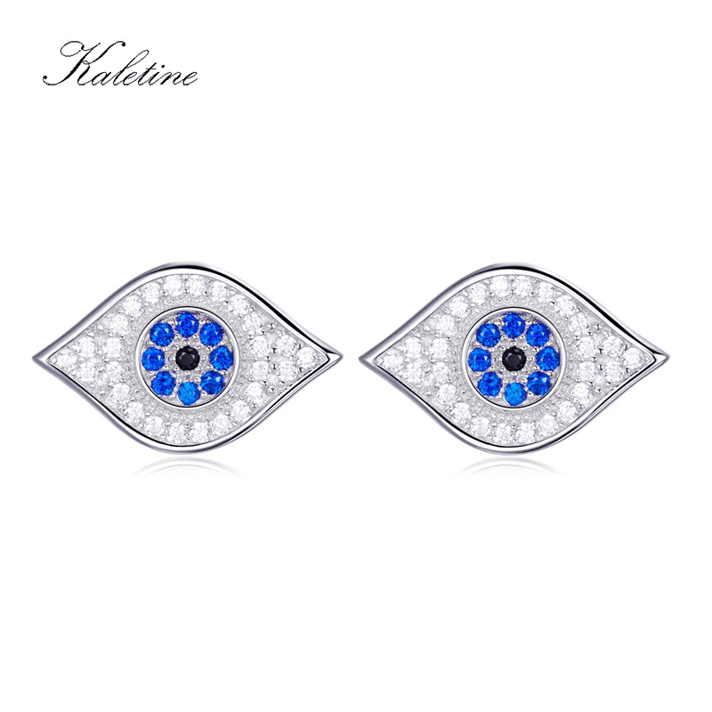 KALETINE Genuine 925 Sterling Silver Earring Stud New Arrivals Bling Lucky Blue CZ Evil Eye Stud Earrings For Woman Man KLTE018