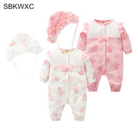 Baby rompers fashion autumn baby girls baptism flowers print lace kids clothes romper+hat 2pcs pink white 0-12M