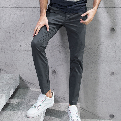 KUEGOU 2019 Summer Cotton Solid Black Gray Men Pants For Trousers Men Fashions Long Male Brand Clothing Casual Pants New 2397 Islamabad
