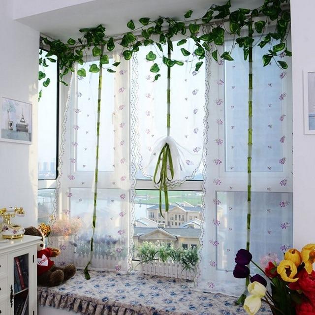 Hot Window Roller Blinds Embroider Flower Short Sheer Curtains Roman