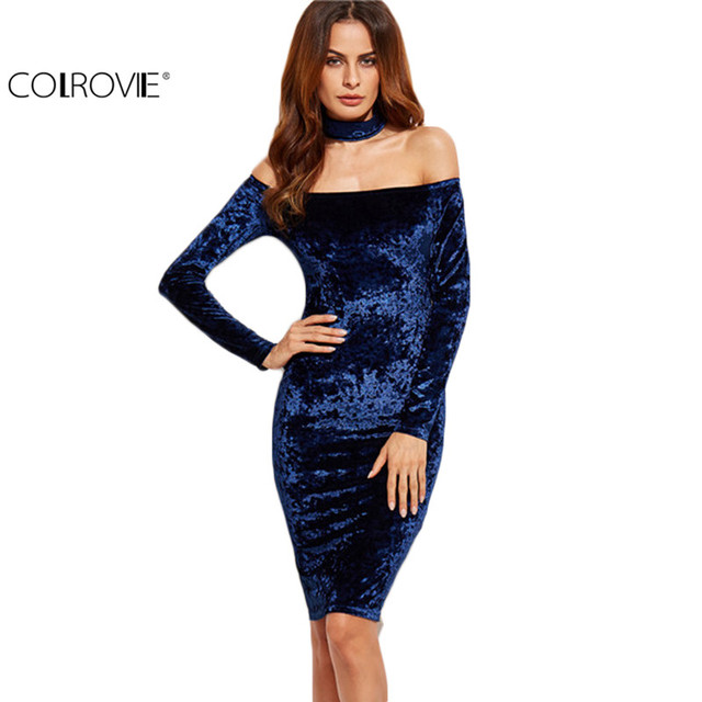 COLROVIE Choker Neck Velvet Halter Pencil Dress Sexy Women Knee Length Dress Autumn Club Wear Sheath Dress