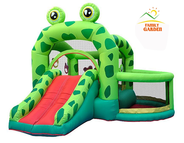 Bounceland Castle W pool Slider Inflatable Frog Bounce House Bouncer Moonwalk With Air Blower