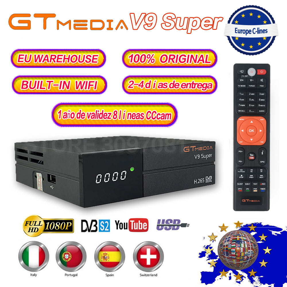 New GTmedia V9 Super Satellite Receiver Freesat V9 Super Updated GTmedia V8 Nova with CCcam Cline