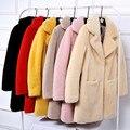 De las nuevas mujeres abrigo de piel de piel de oveja real abrigos de piel de oveja mujeres largo abrigo de piel de cordero Genuino femenino