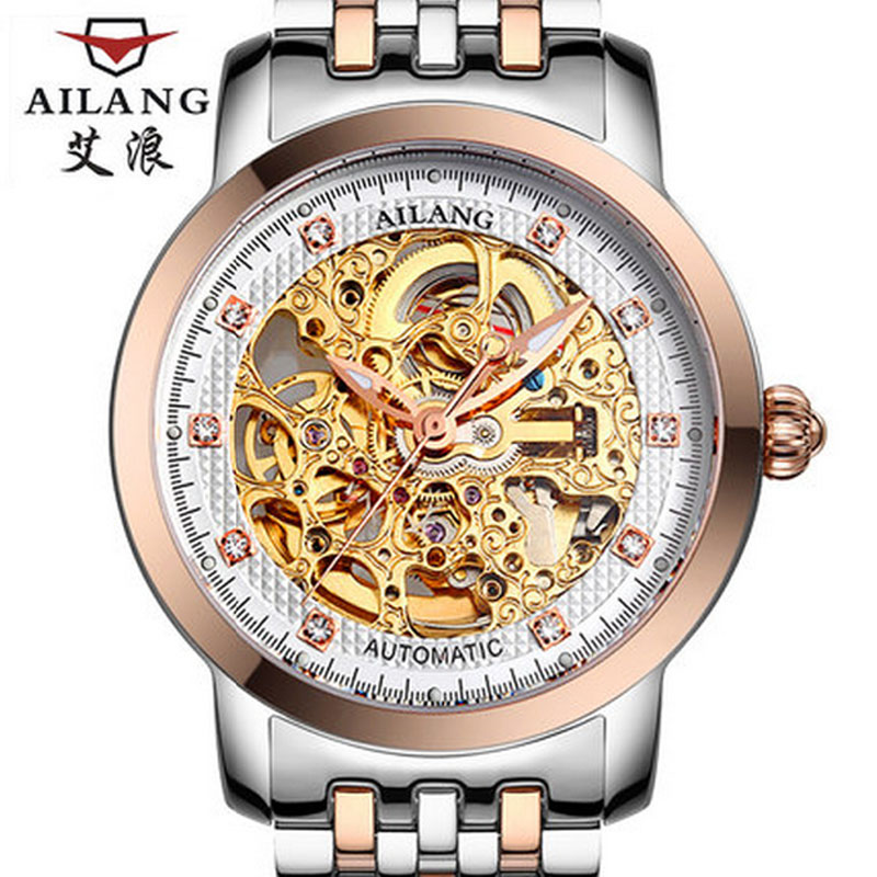 AILANG Luxury Men Automatic Mechanical Watches Stainless Steel Diamond Hollow Business Male Military Men Clock relogio masculino brand fashion diamond business men s table automatic steel mechanical watch hollow wristwatches relogio masculino