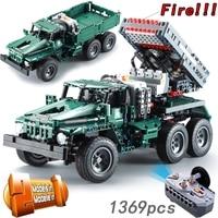CADA RC Rocket Launcher Truck Car 2in1 Creator Technic Military 1369pcs Power Funcation MOC Building Blocks Bricks legoings Toys