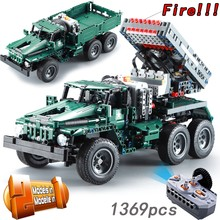CADA RC Rocket Launcher Truck Car 2in1 Creator Technic Military 1369pcs Power Funcation MOC Building Blocks Bricks legoings Toys(China)