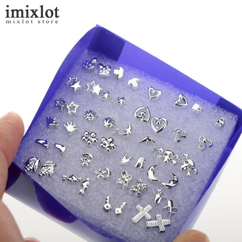 24 Pairs Silver Earrings Cross Heart Star Flower Different Shapes Ear Stud Earrings For Women Men Fashion Jewelry Wholesale