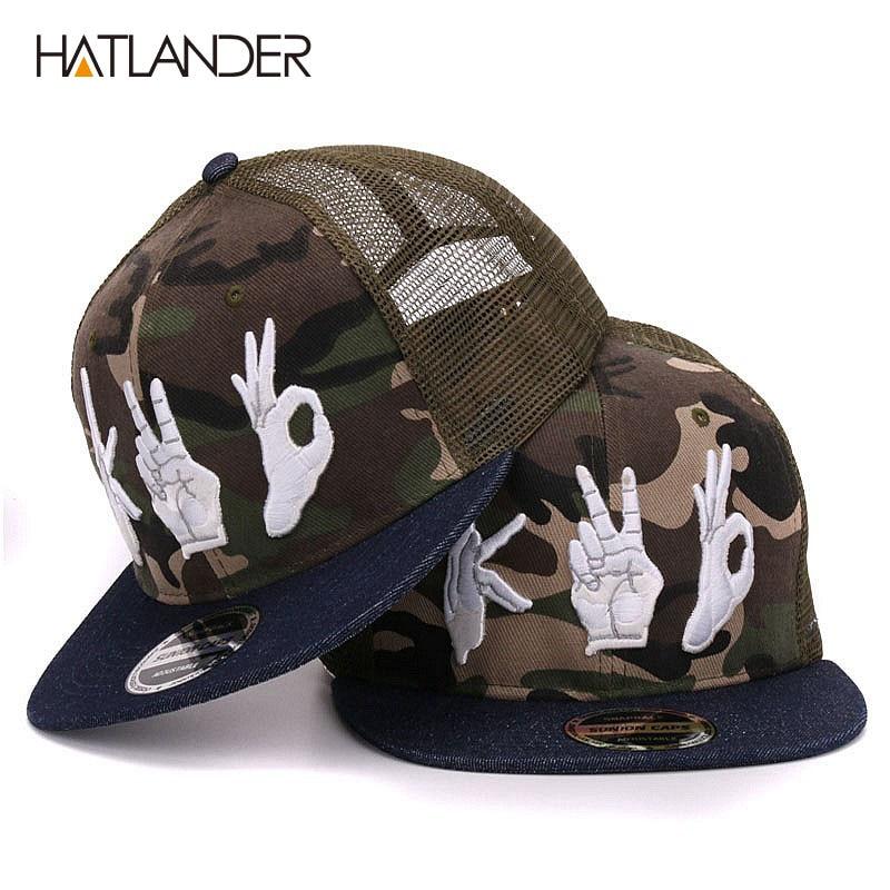 HATLANDER camouflage flat brim baseball caps summer sun hats mesh hip hop snapbacks 3D AK embroidery camo trucker caps for mens