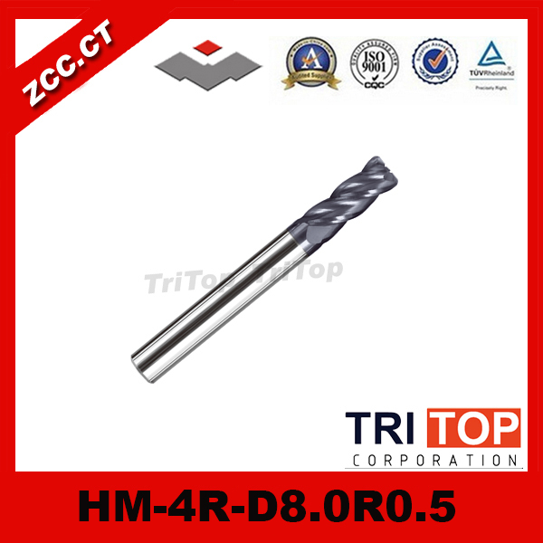 high-hardness steel machining series  ZCC.CT HM/HMX-4R-D8.0R0.5 Solid carbide 4 flute Radius end mills with straight shank