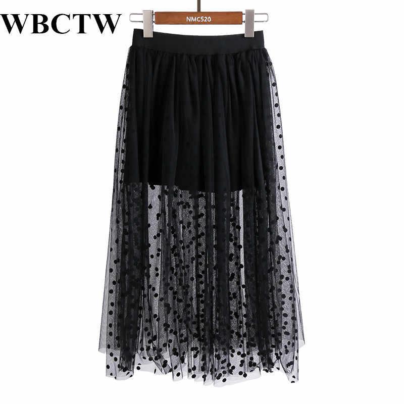 f024acdb39e Тюлевая юбка с эластичным поясом в горошек Модные черные юбки 5XL 6XL 7XL  Большие размеры прозрачные