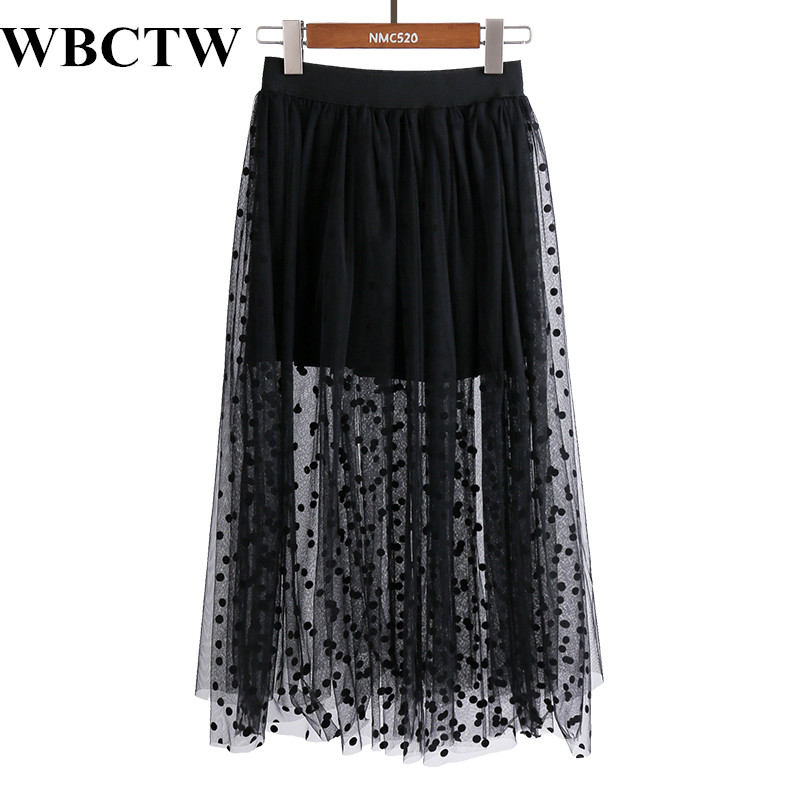 Tulle Skirt Elastic Waist Dot Printed Fashion Black Skirts 5XL 6XL 7XL Plus Size See Through Sexy Long Maxi Skirts For Women