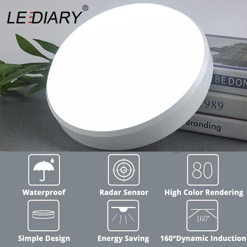 LEDIARY CONDUZIU a Lâmpada Do Teto 220V W 18W IP54 À Prova D' Água LEVOU Radar Sensor de 15 Foyer Luzes Para Casa Cozinha Casa de Banho uso de Iluminação Luminárias