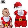 ОН Привет Пользуются Рождественский подарок 2016 горячие унисекс детская одежда с коротким рукавом мягкий одежда новорожденного ребенка детский комбинезон + шляпа 0-24month