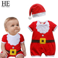 HE Hello Enjoy Christmas gift 2016 hot unisex baby clothes short sleeves bland clothing  newborn baby rompers+hat 0-24month
