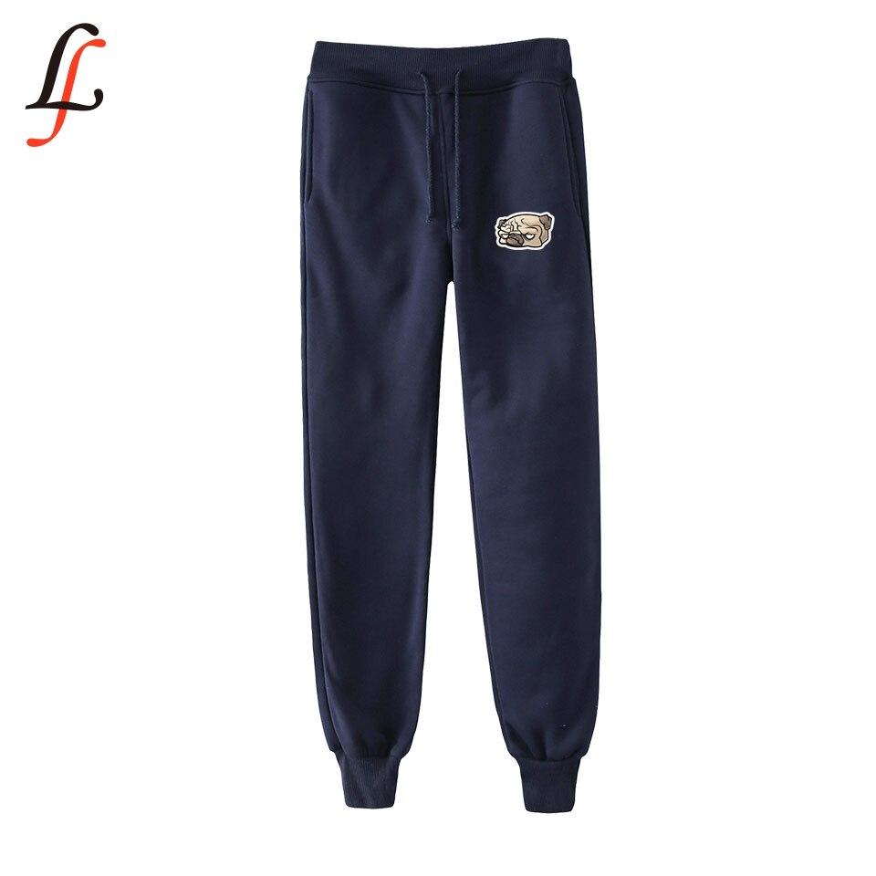 Fashion Pants Harajuku Hip-Kpop Men/women Modis Pug-Print Casual New Warm Slim Tops